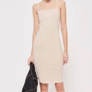 TOPSHOP Cotton Slip Dress in Light Nude Size 8